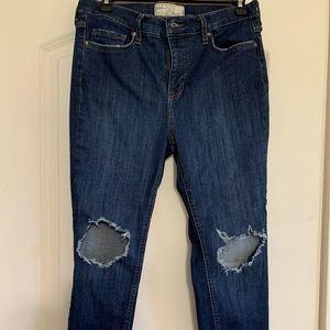 Free People Destroyed Knee Skinny Jean Size 29